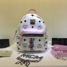 MCM韩国官网 超mini兔子背包 全新皮质纹理 内搭厚实耐用帆布 白拼粉