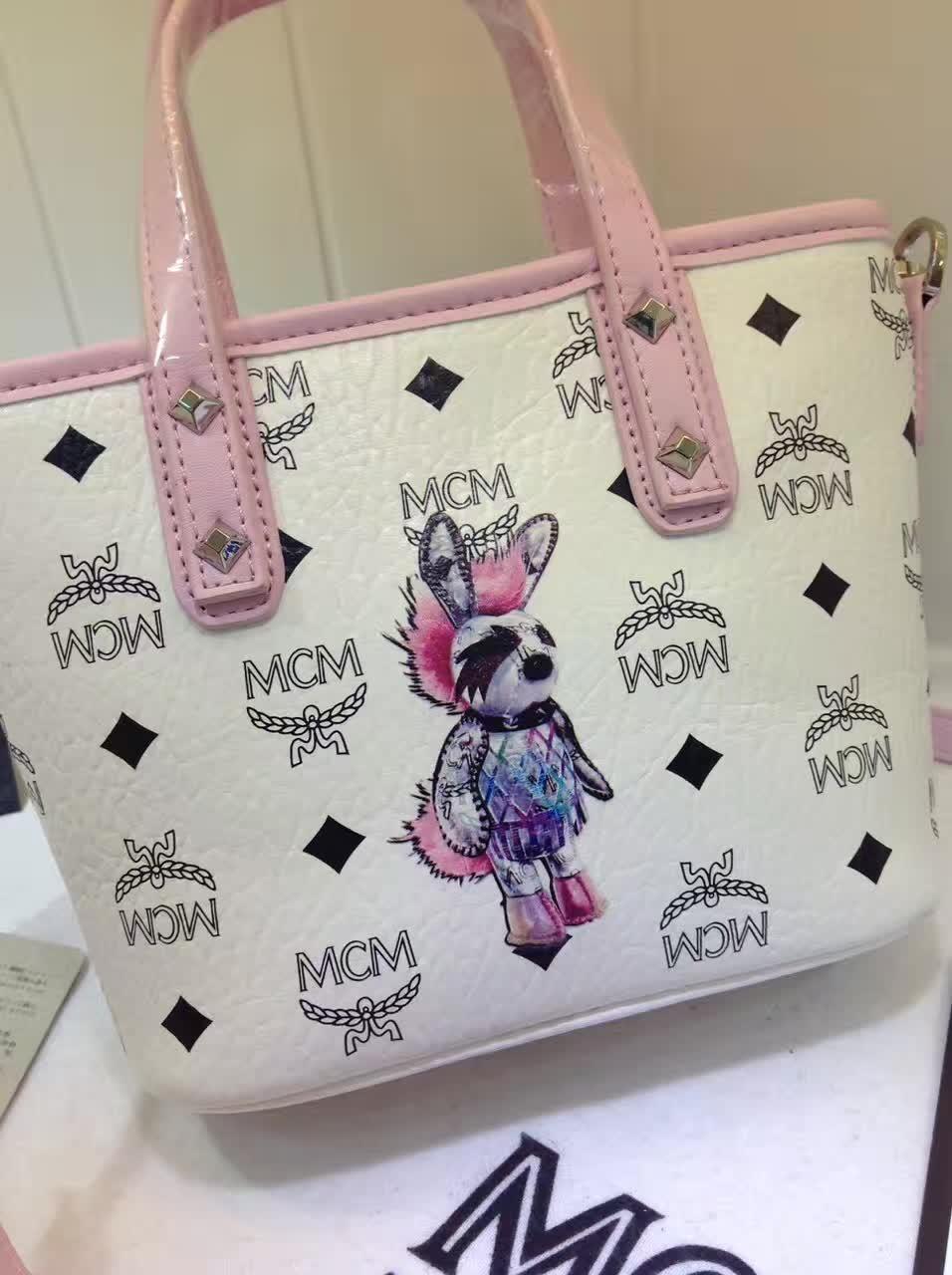MCM包包批发 2017专柜新款 兔子购物袋造型mini斜挎包 白拼粉