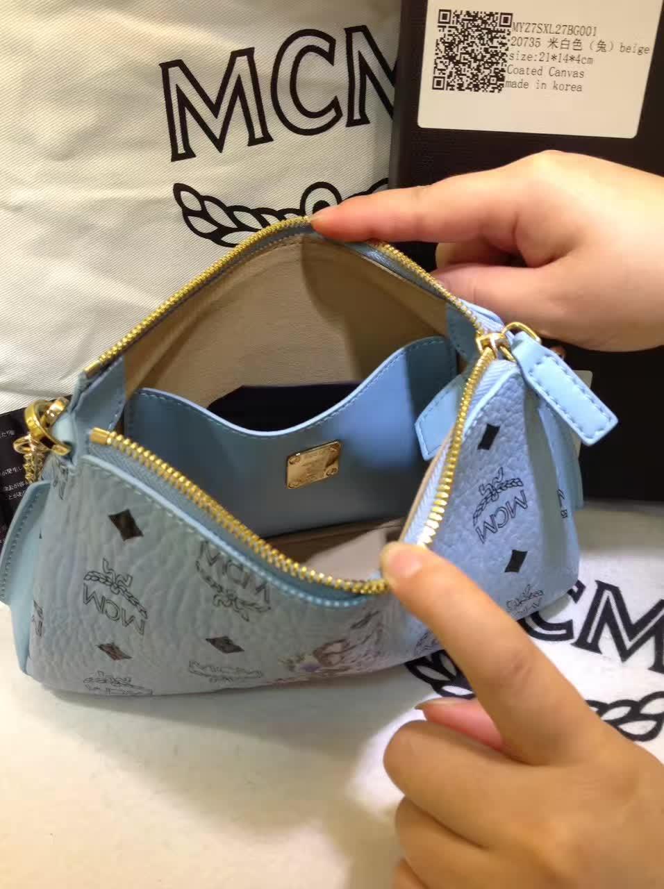 MCM专柜新款 链条斜挎两用包 新纹路PVC配高品质牛皮 绒布内里 水洗蓝