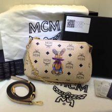 MCM专柜新款 链条斜挎两用包 新纹路PVC配高品质牛皮 绒布内里 米白
