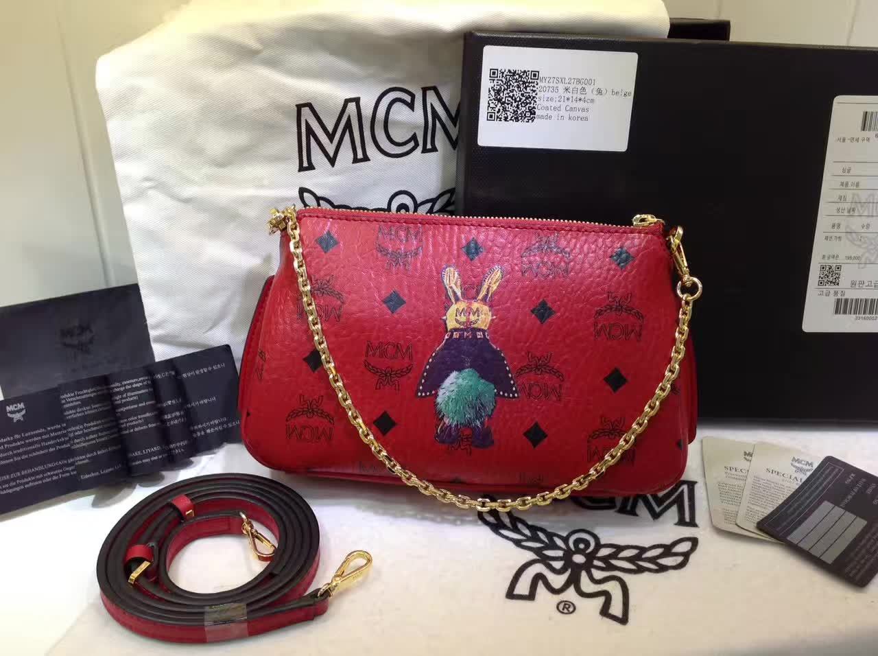 MCM专柜新款 链条斜挎两用包 新纹路PVC配高品质牛皮 绒布内里 大红