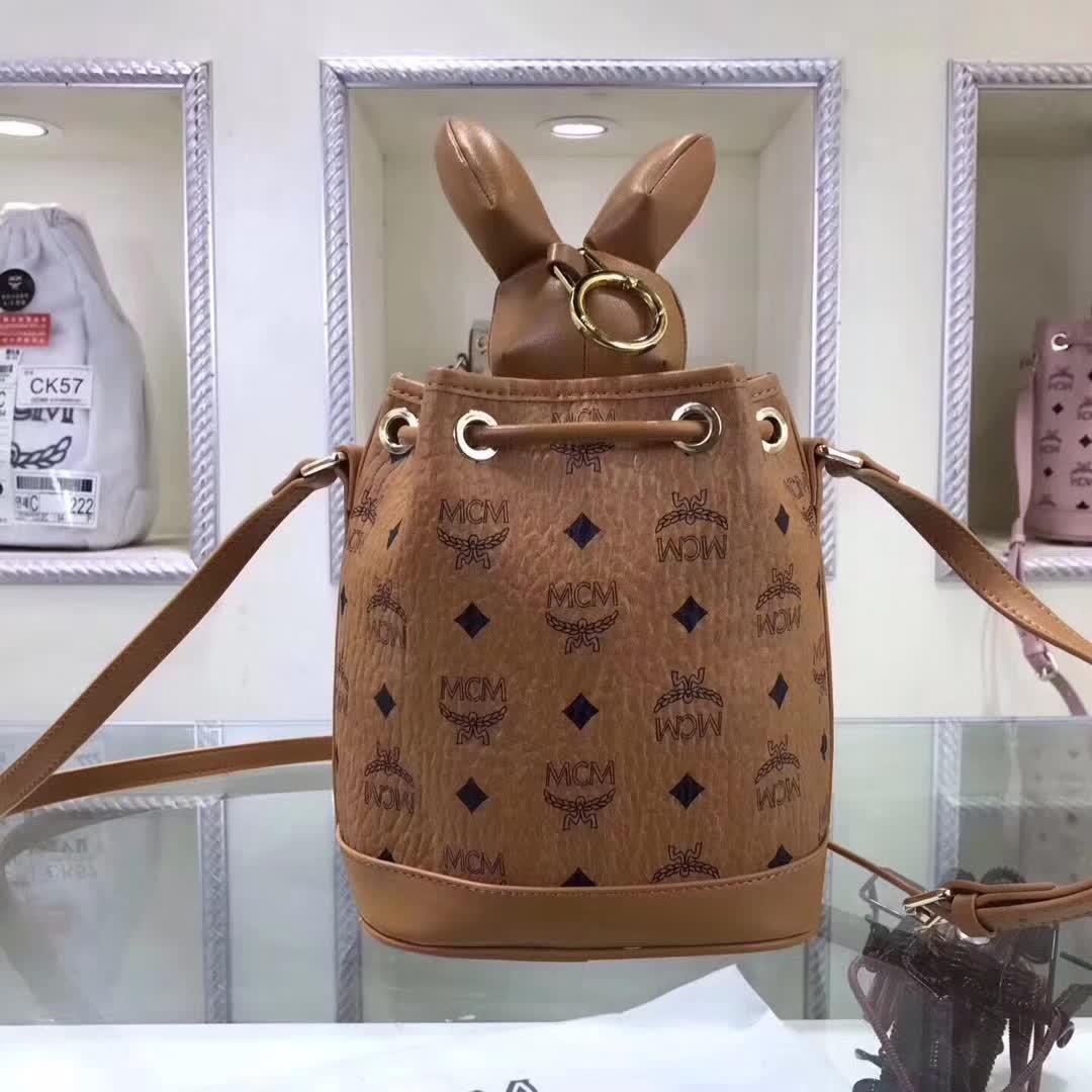 MCM官网 兔型摆件水桶包 Visetos印花 小兔子摆件可拆卸 土黄