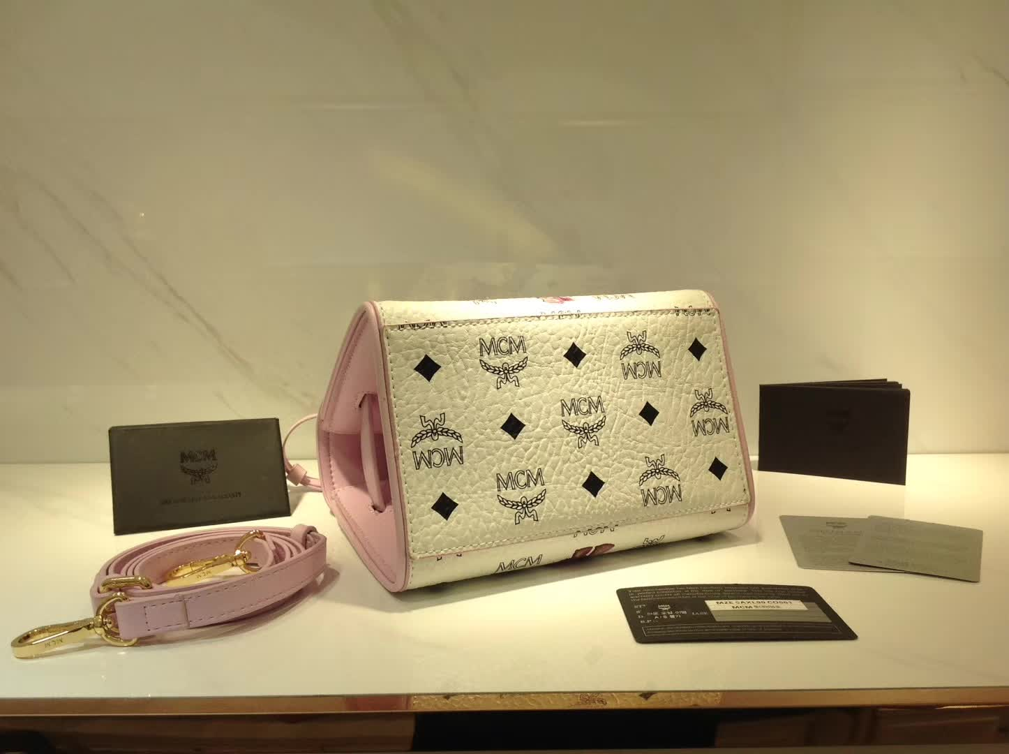 MCM17最新款 HERITAGE高档经典手工制作系列兔子mini kelly 铜牌经典款 白拼粉