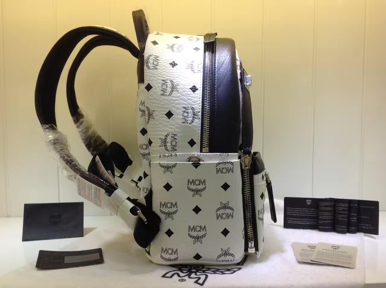 MCM专柜新款 重工个性闪电镭射设计子母包 柔软肩带全皮内里 白色