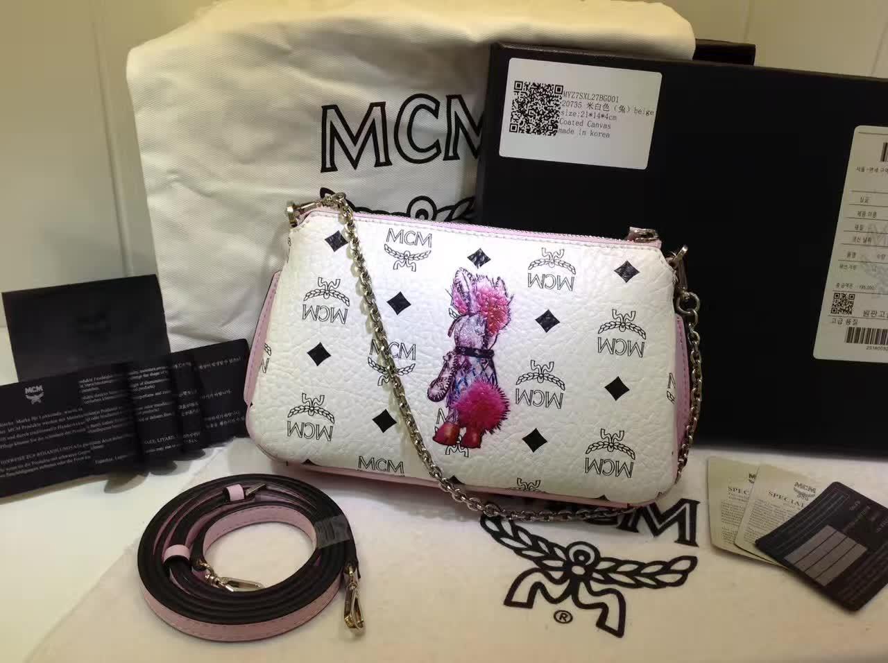 MCM专柜新款 链条斜挎两用包 新纹路PVC配高品质牛皮 绒布内里 白色
