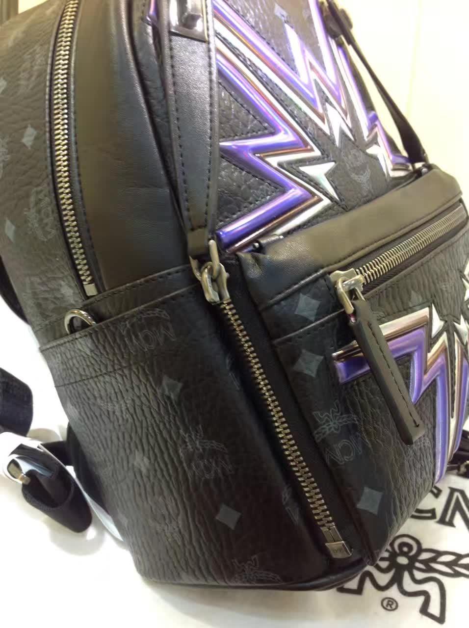 MCM专柜新款 重工个性闪电镭射设计子母包 柔软肩带全皮内里 黑色
