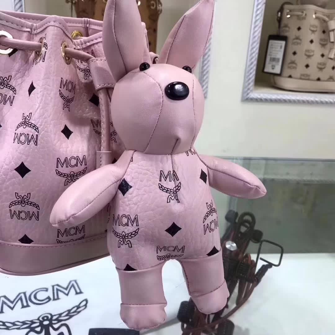 MCM官网 兔型摆件水桶包 Visetos印花 小兔子摆件可拆卸 浅粉