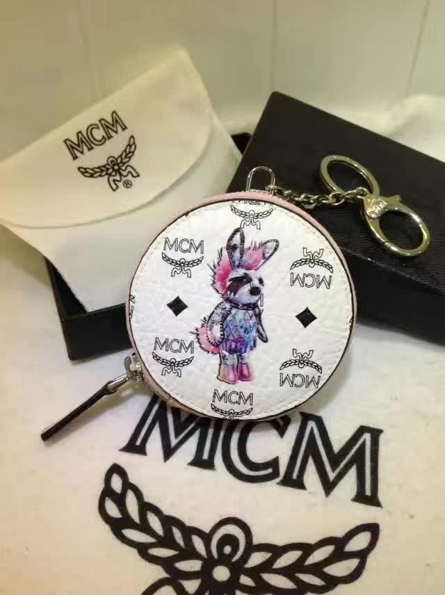 MCM钱包 MCM零钱包 可当挂饰 亦可装零钱和地铁公交卡 白拼粉