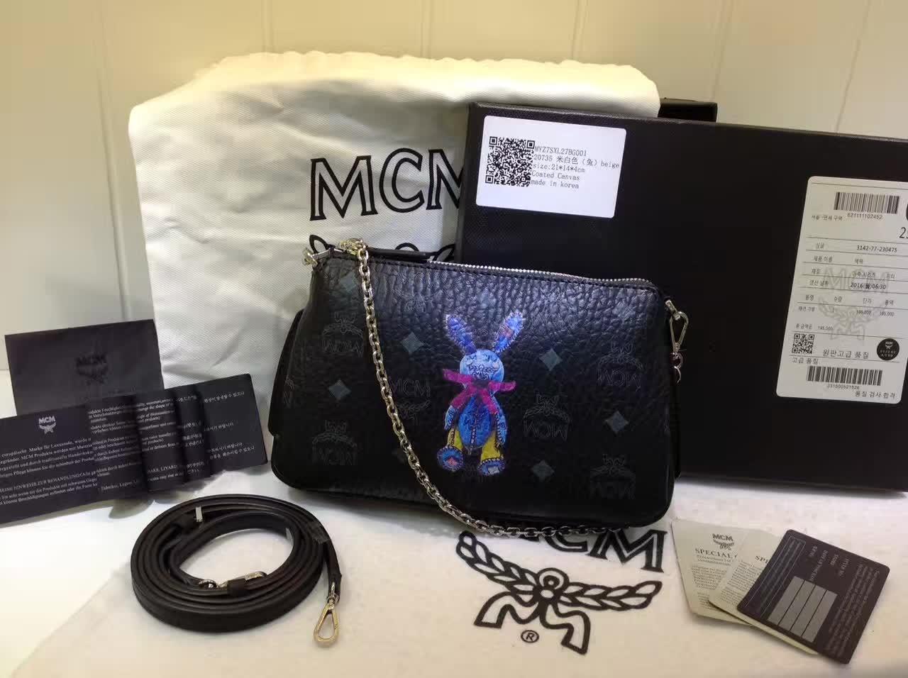 MCM专柜新款 链条斜挎两用包 新纹路PVC配高品质牛皮 绒布内里 黑色