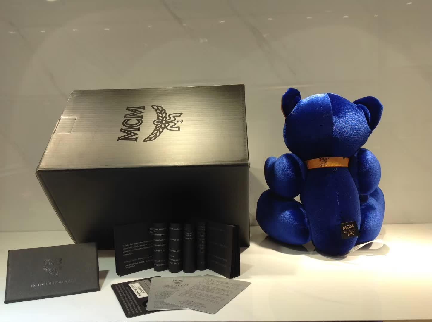 广州白云皮具城 MCM手工缝制玩具小熊 电光蓝