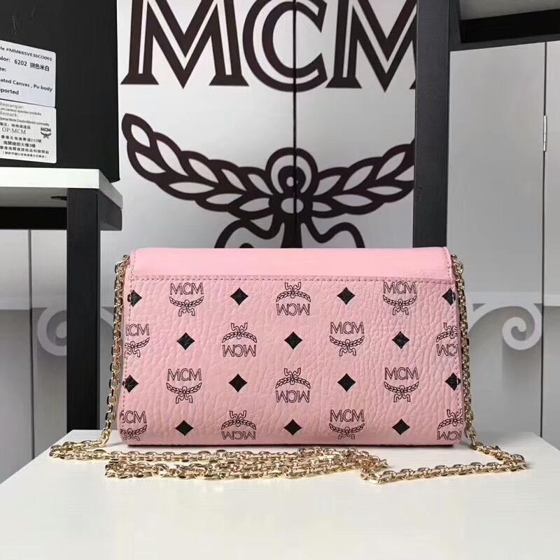 MCM新款 Visetos Patricia手袋斜跨链条包 粗纹进口PVC配原版牛皮 冰激凌粉拼皮