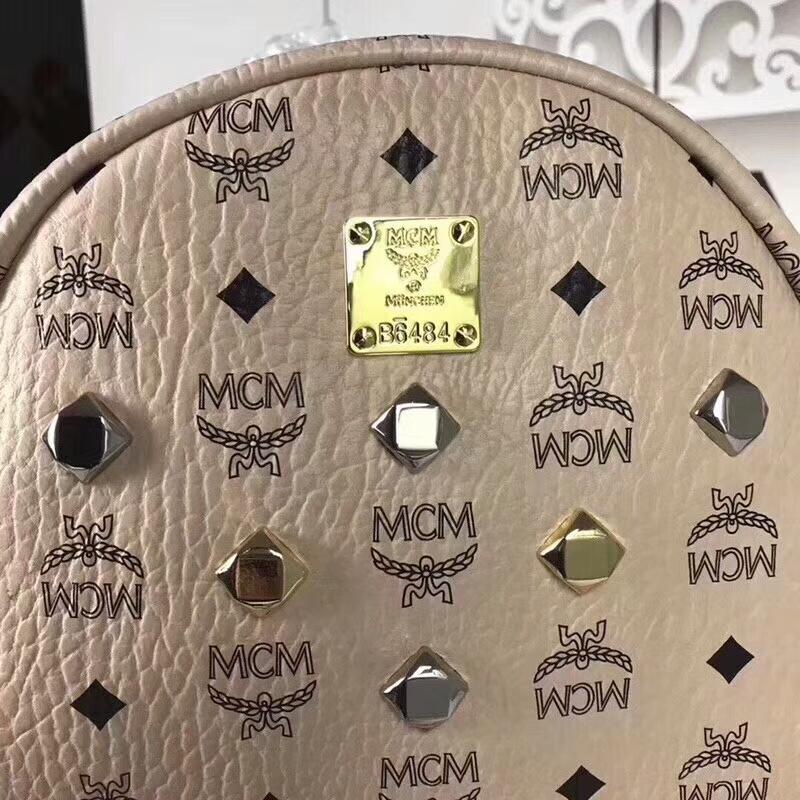 MCM经典款 六钉全新多面体五金 透气肩带全皮内里 米白