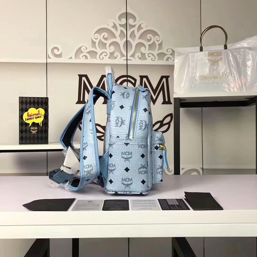 MCM兔子背包迷你号 全新皮质纹理 内搭厚实耐用粗纹帆布 浅蓝