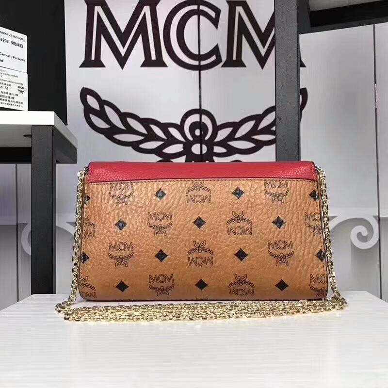 MCM新款 Visetos Patricia手袋斜跨链条包 粗纹进口PVC配原版牛皮 土黄拼红皮