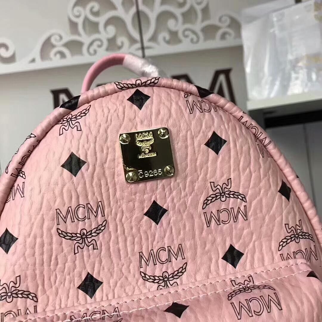MCM兔子背包迷你号 全新皮质纹理 内搭厚实耐用粗纹帆布 冰激凌粉