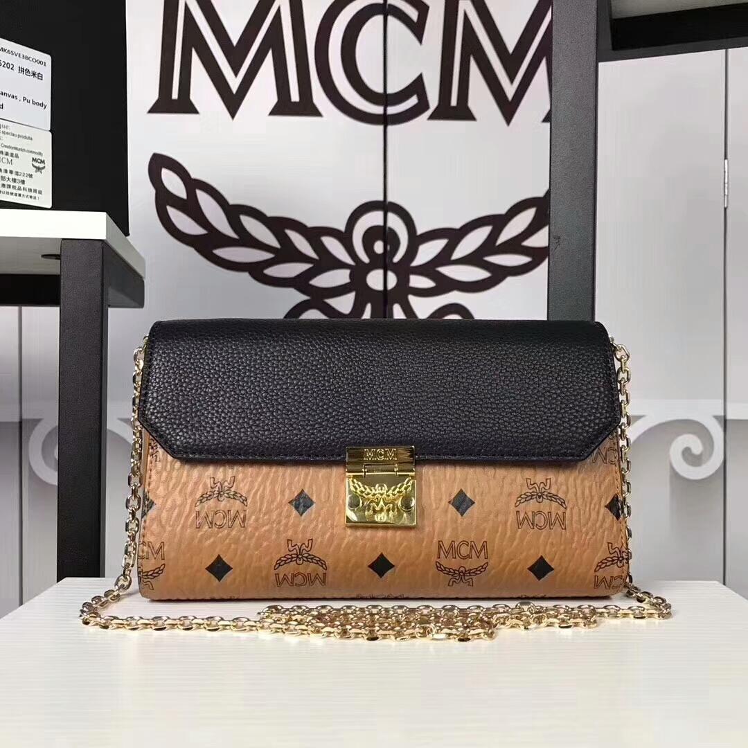MCM新款 Visetos Patricia手袋斜跨链条包 粗纹进口PVC配原版牛皮 土黄拼黑皮