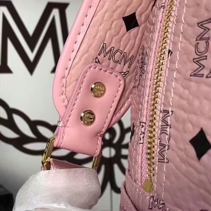 MCM经典款 六钉全新多面体五金 透气肩带全皮内里 冰激凌粉