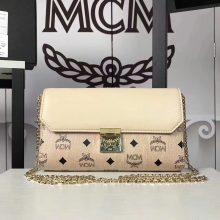 MCM新款 Visetos Patricia手袋斜跨链条包 粗纹进口PVC配原版牛皮 米白拼皮