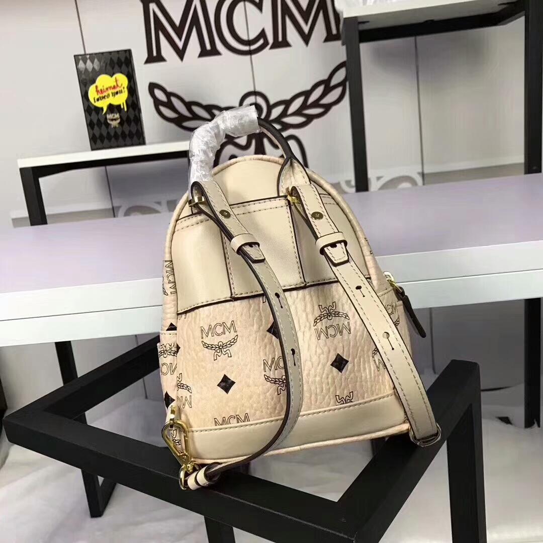 MCM兔子背包超迷你号 全新皮质纹理 内搭厚实耐用粗纹帆布 可斜跨可双肩背 米白