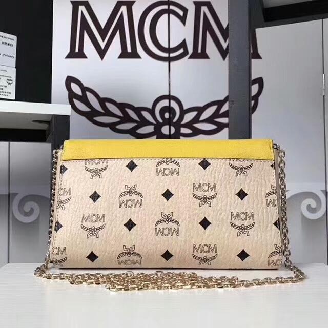 MCM新款 Visetos Patricia手袋斜跨链条包 粗纹进口PVC配原版牛皮 米白拼柠檬黄