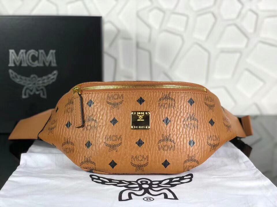 MCM韩国官网 2018专柜新款腰包 内里帆布材质耐用有型 土黄