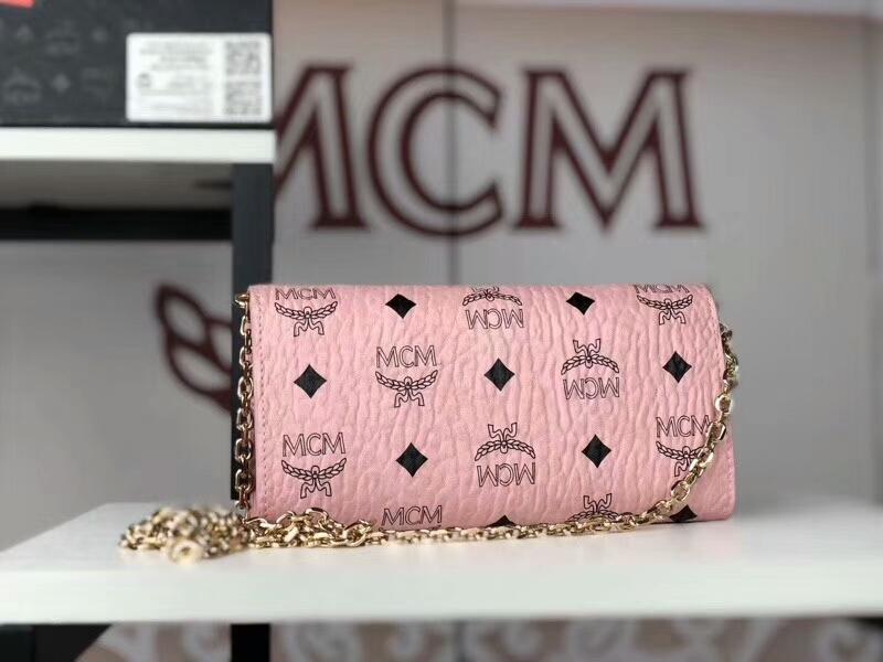MCM新款 铆钉链条包 可拆卸当钱包 全新PVC皮纹配高品质牛皮 冰激凌粉