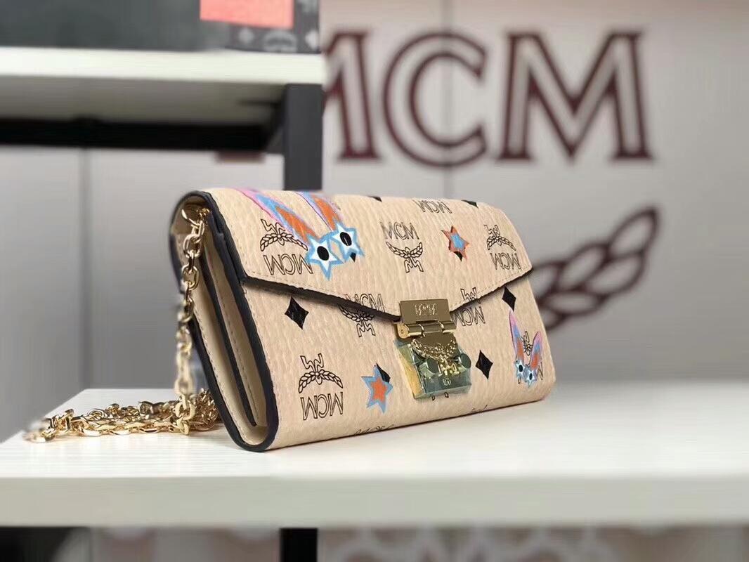 MCM韩国官网2018新款 兔子小链条包 全新PVC皮纹配高品质牛皮 米白