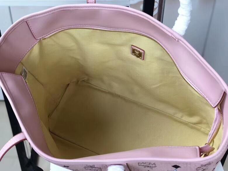 MCM2018新款 Mille幻想兔子母购物袋 颜色多彩的幻想兔图案 ykk拉链 铜牌独立编码 冰激凌粉