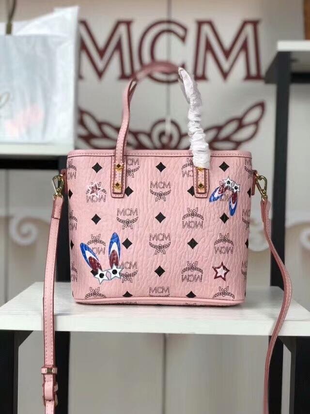 MCM2018新款 Mille幻想兔迷你购物袋 幻想兔图案 ykk拉链 铜牌独立编码 冰激凌粉