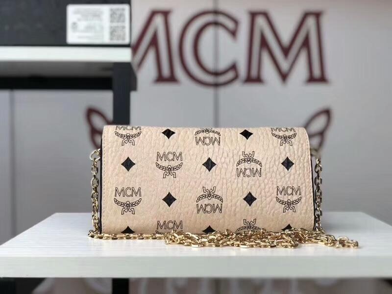 MCM新款 铆钉链条包 可拆卸当钱包 全新PVC皮纹配高品质牛皮 米白