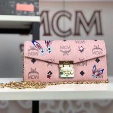 MCM韩国官网2018新款 兔子小链条包 全新PVC皮纹配高品质牛皮 冰激凌粉
