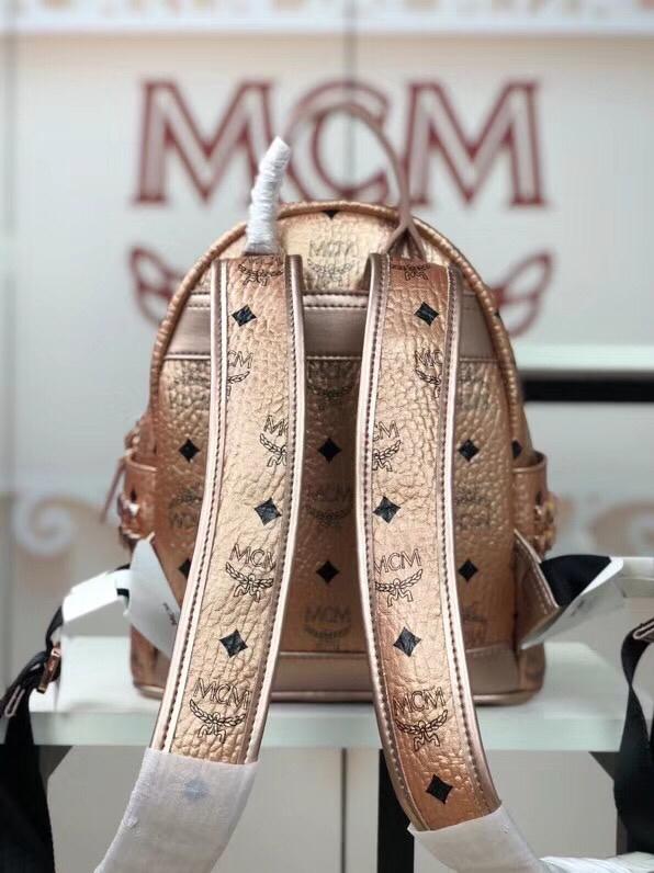 MCM韩国官网 侧钉新颜色迷你号 全新多面体五金透气肩带 柔软全皮内里 香槟金