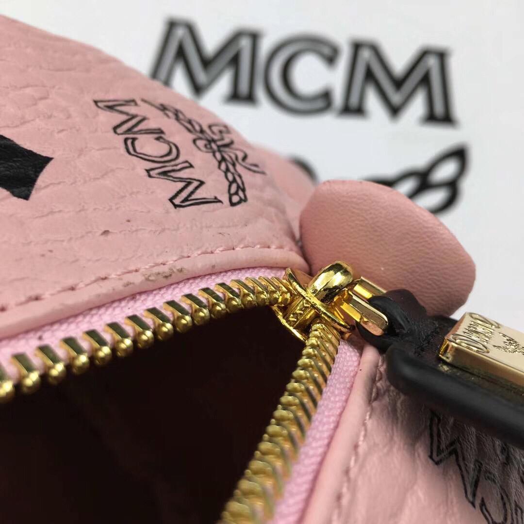 MCM官网同步 Bear Doll熊娃娃系列斜跨双肩背包 优雅好玩 冰激凌粉