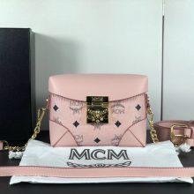 MCM官网 2018经典印花复古小方盒 定制专用皮配原版牛皮 可斜跨单肩 粉色