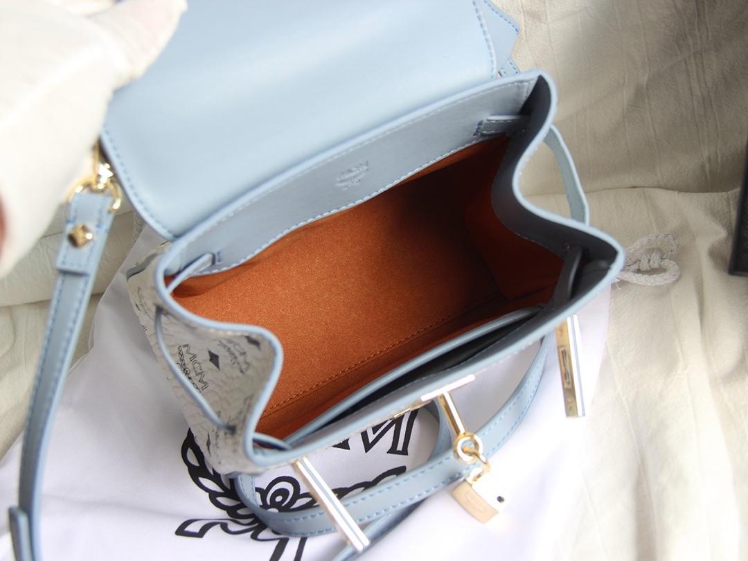 原单MCM 配皮Kelly包 Visetos印花涂层帆布配精致牛皮 时尚永恒 白拼蓝