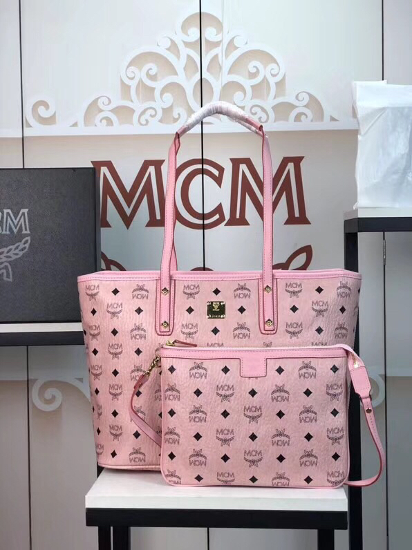 MCM包包官网 Visetos Anya购物袋 实用随和 冰激凌粉