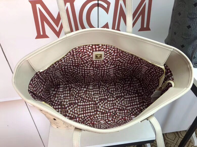 MCM包包官网 Visetos Anya购物袋 实用随和 米白