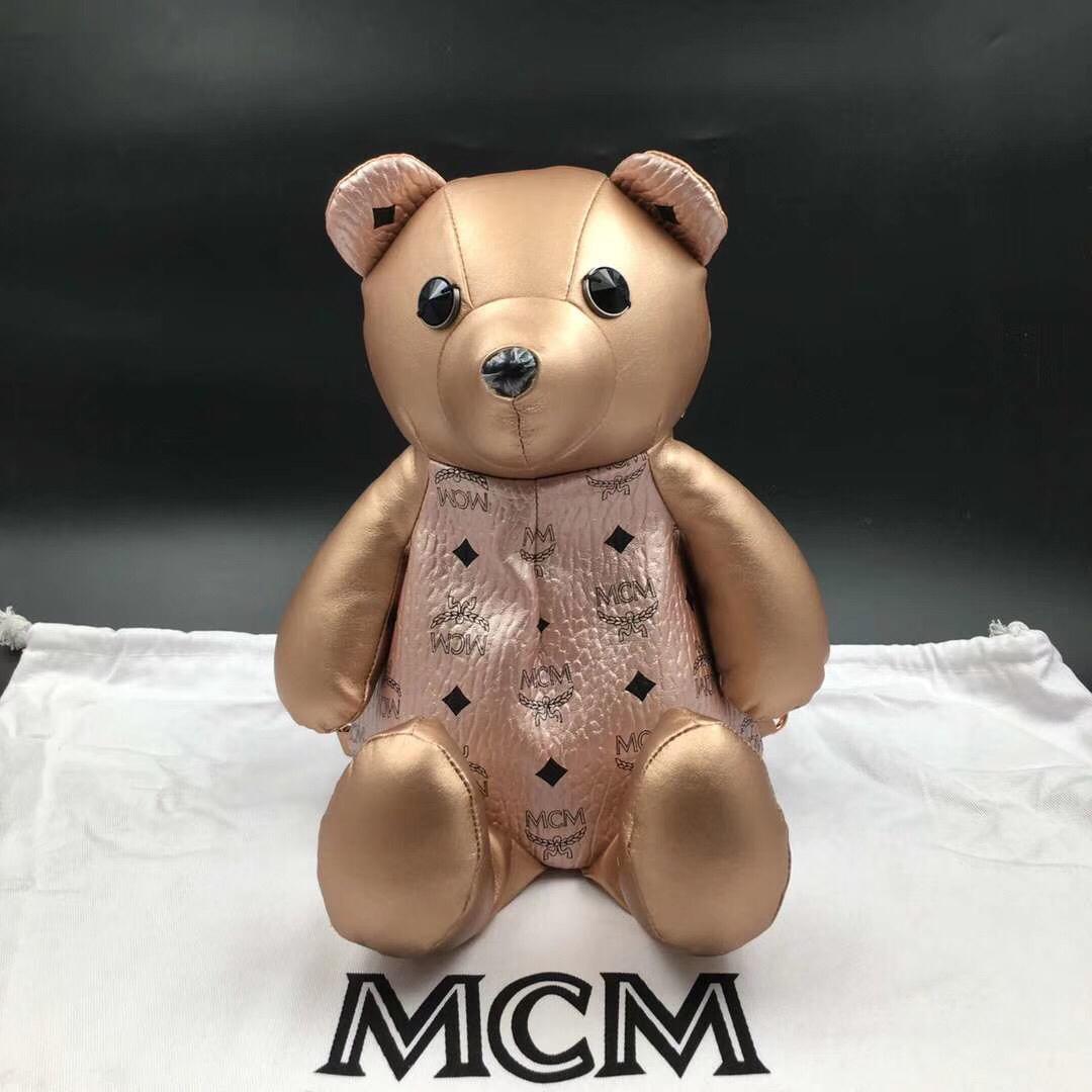MCM官网同步 Bear Doll熊娃娃系列斜跨双肩背包 优雅好玩 香槟金