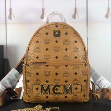 MCM Trilogie Stark Viseto双肩包 彰显传统设计理念 主隔层宽敞 土黄