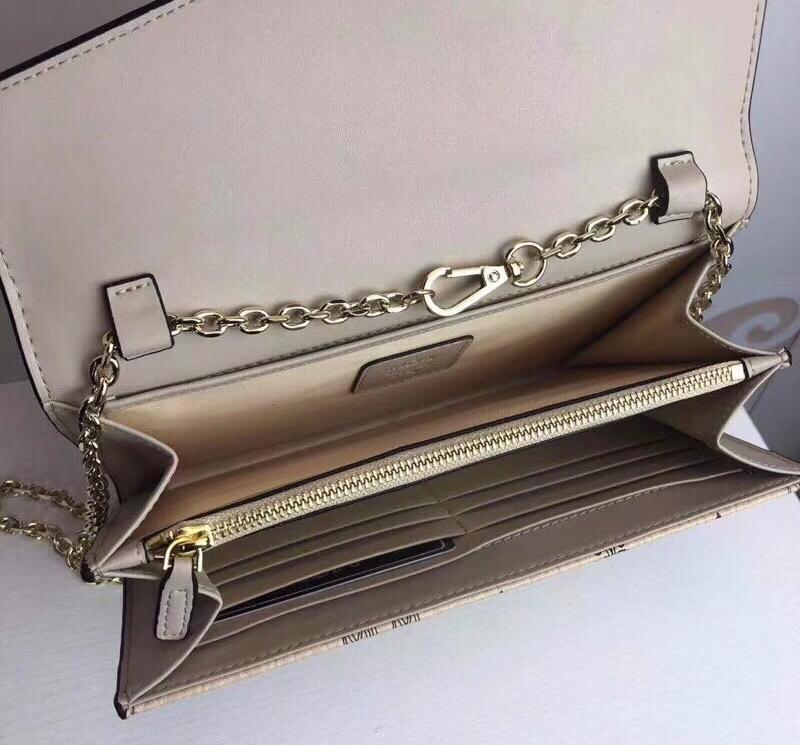 MCM Patricia系列 斜挎包单肩包折叠翻盖钱包 采用涂层帆布制成 风琴式隔层 米白