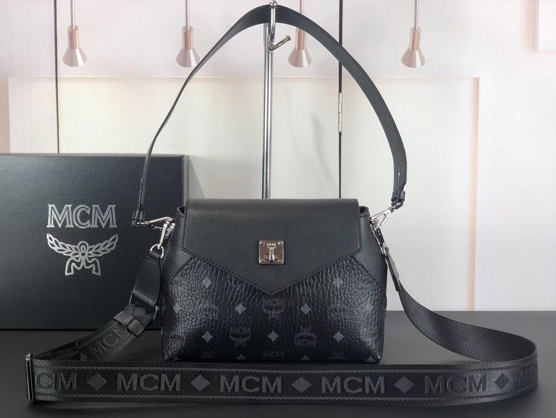 MCM 19款经典Viseto印花Essential斜挎包 经典印花涂层帆布配原版牛皮革 黑色