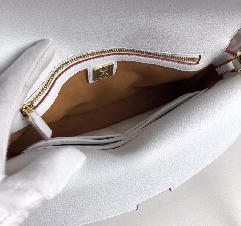 MCM Mille系列双皮盖链条包 翻盖设计 经典Visetos图案材质组合及色块皮革 冰激凌粉
