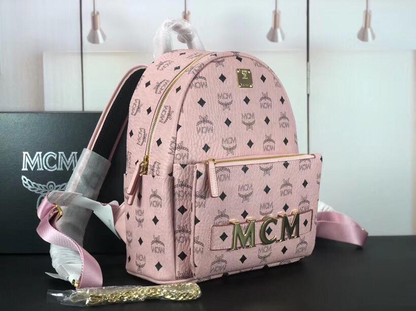 MCM Trilogie Stark Viseto双肩包 彰显传统设计理念 主隔层宽敞 粉色