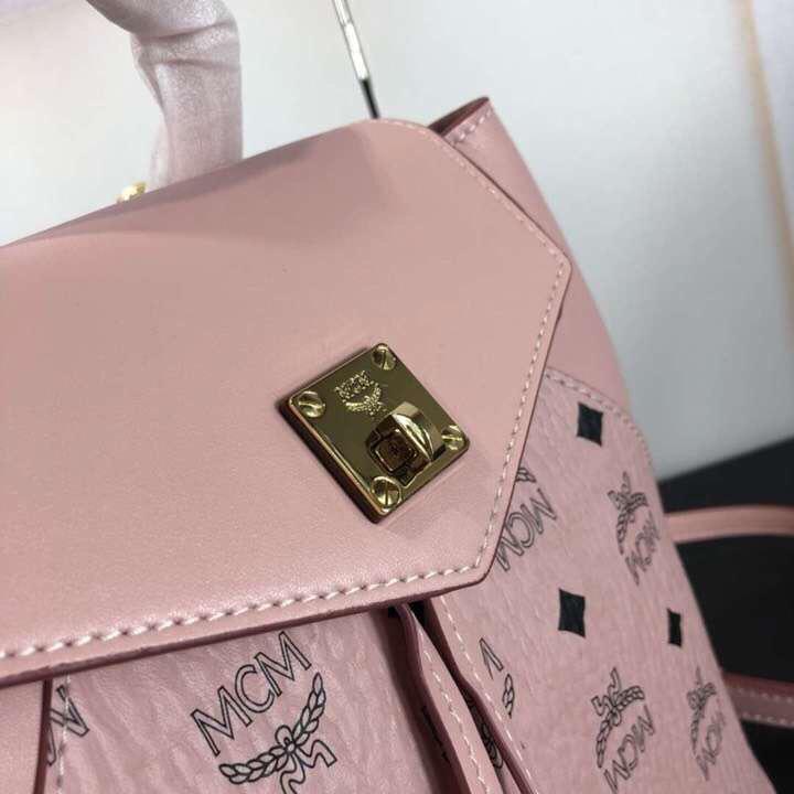 MCM19款经典Viseto印花Essential翻盖多用单双肩包 经典印花PVC配牛皮革制成 冰激凌粉