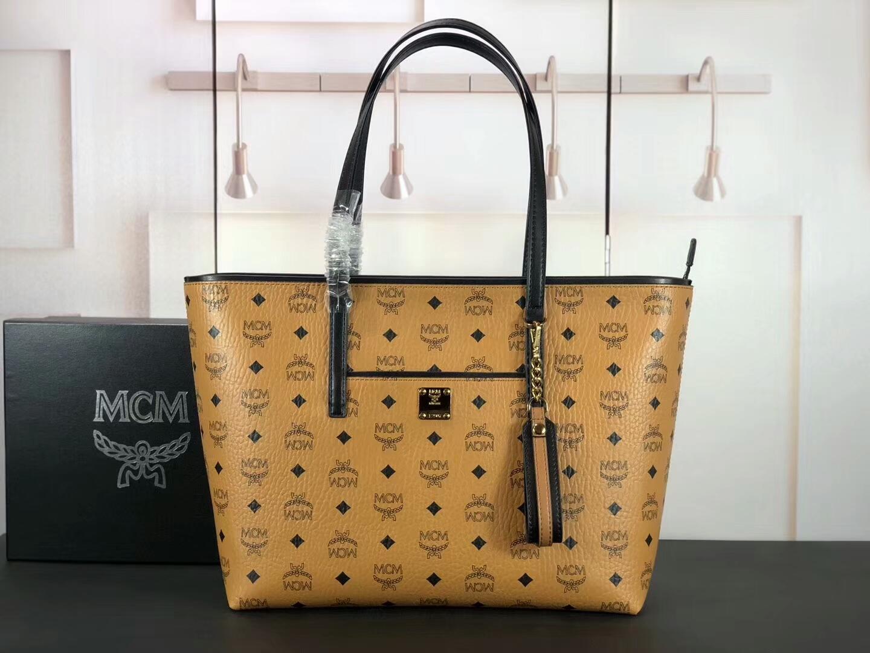 MCM2019新品 Anya Visetos顶部拉链购物袋 原单材质 高端品质 精美手工 土黄