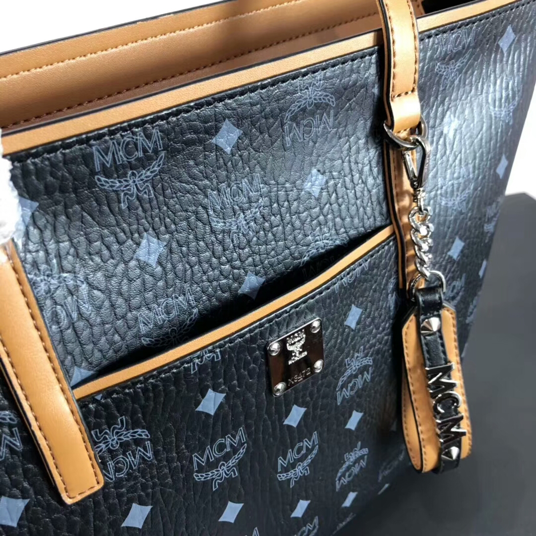 MCM2019新品 Anya Visetos顶部拉链购物袋 原单材质 高端品质 精美手工 黑色
