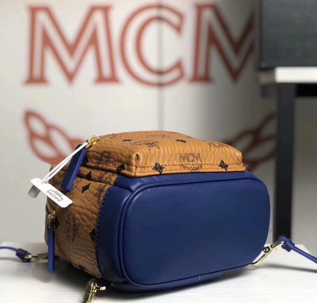 MCM 秋冬新款 x-mini 拼色双肩包(土黄/蓝色)可斜挎/单肩背/双肩背 简约上身百搭款
