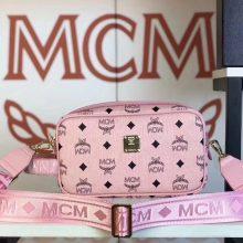MCM 秋冬新款 经典Visetos印花(粉色)相机包/斜挎单肩包/可手提  独特简约百搭款
