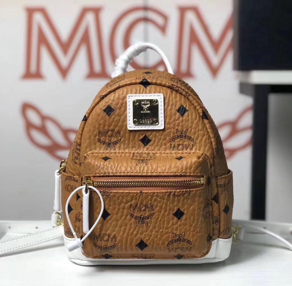 MCM 秋冬新款 x-mini 拼色双肩包(土黄/白色)可斜挎/单肩背/双肩背 简约上身百搭款